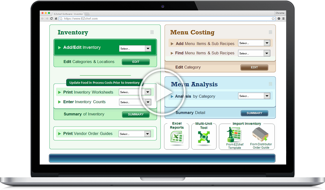 EZchef Software: Inventory Management, Menu Costing and